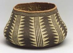 Northern California Polychrome Twined Basketry Bowl | Karok, possibly the work of Elizabeth Hickok, the lobed, squash-shaped vessel tightly woven, the medium brown form decorated in yellow and dark brown half-twist overlay of vertical stacked triangle and linear devices