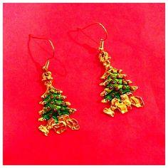 Christmas Tree Earrings  Festive holiday dangle earrings! Lightweight brass setting. Jewelry Earrings