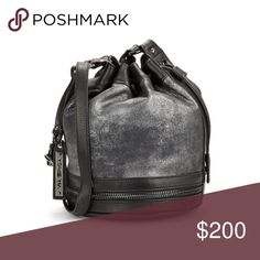 Via Spiga Leather Bag Brand new Gorgeous Via Spiga Stef Metallic Leather Bucket Bag in Graphite Via Spiga Bags