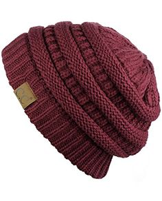 C Trendy Warm Chunky Soft Stretch Cable Knit Beanie Skully Ponytail Beanie, Cc Beanie, Knit Beanie, Beanie Hats, Fall Hats For Women, Cool Beanies, Clear Tote Bags, Beaded Lace, Neck Warmer