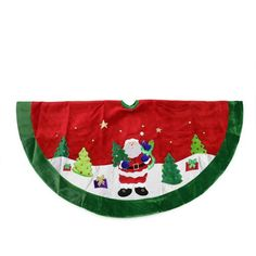 "48"""" Red Velveteen Santa Claus Sequined Christmas Tree Skirt with Green Trim"