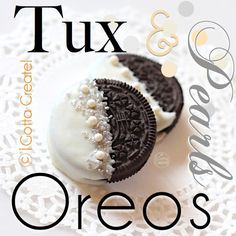 Tuxedo and Pearls Oreo Cookies! Ideal for a dessert buffet or bridal shower. Eas… Tuxedo and Pearls Oreo Cookies! Ideal for a dessert buffet or bridal shower. Easy to DIY. Great Gatsby Party, 1920s Party, Gatsby Theme, Wedding Cookies, Wedding Desserts, Bridal Shower Desserts, Oreo Wedding Cake, Cookie Table Wedding, Bridal Shower Treats