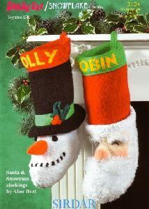 pdf Alan Dart Santa & Snowmen Christmas Stockings by APatternAngel Christmas Knitting Patterns, Crochet Patterns, Christmas Snowman, Christmas Stockings, Alan Dart, Santa Stocking, Vintage Knitting, Stuffed Toys Patterns, Large Prints