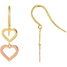 Weight: 0.75 grams Width:  7.3 mm Length: 22.65 mm Metal Color: Rose Metal Color: Yellow Metal Purity: 14k Metal Type: Gold Surface Finish: Polish Earring Closure: French Wire