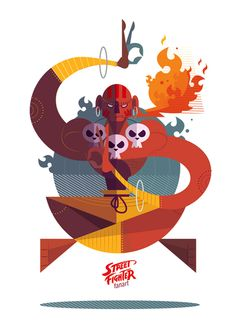 Bold, Geometric Illustrations of 'Street Fighter' Characters - DesignTAXI.com