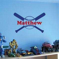 Wall Decal Baseball Bat Personalized Monogram with Name Boys Girls Room Wall Decor Baseball Decal on Etsy, $25.00