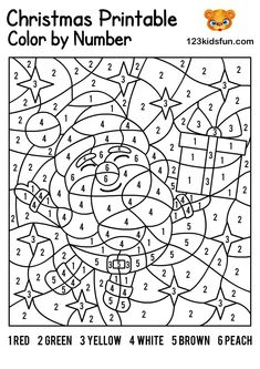FREE Christmas Color by Number, Coloring Pages for Kids Printable. Kids learning color and numbers. Best activities for Toddlers and preschoolers. Christmas Printable Activities, Christmas Worksheets, Christmas Activities For Kids, Christmas Color By Number, Christmas Colors, Printable Christmas Coloring Pages, Christmas Coloring Games, Color By Number Printable, Lapin Art
