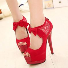 Bowknot Crochet Lace Peep Toe Stiletto...I want these I have no real use for them, but I still want them!