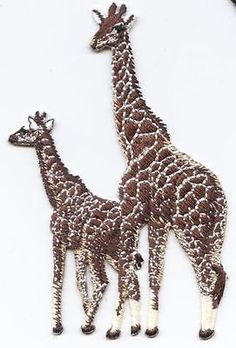 Iron On Embroidered Applique Patch Two Brown Giraffe Family 695142A
