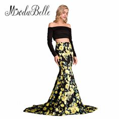 7912053b57 Arabic Mermaid 2 Piece Floral Print Prom Dresses 2017 Long Sleeve Unique  Spring Summer Prom Gown. Evening ...