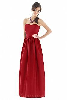 Strapless Satin Red Glorious Bridesaid Dresses On Sale