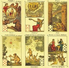 Petit Oracle des Dames, c. 1797 / theme JGSS#1 Later added (Jan. 2017): the title was corrected from c. 1800 to c. 1797 according some later research progress. Jacques Grasset de Saint-Sauveur (= JGSS) is considered to have been the producer of the deck. It's like a mash-up of French Sibyl characters, Grand Jeu myth and Etteilla Tarot, with a good many of the cards double ended like Tarock.