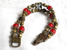 red stone bracelet double strand bracelet stone bracelet by minouc