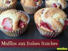 muffins with fresh strawberries Wooloo Muffin Recipes, Cookie Recipes, Snack Recipes, Dessert Recipes, Snacks, Croissants, Desserts With Biscuits, Dessert Aux Fruits, Muffin Bread