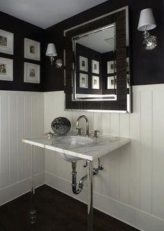 beautifully classic |  black and white bath
