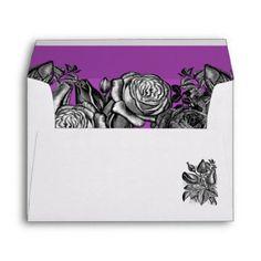 Black and White Roses Electric Purple Wedding Envelope Wedding Invitation Envelopes, Beautiful Wedding Invitations, Wedding Invitation Design, Invites, Lime Green Weddings, Black And White Roses, Custom Printed Envelopes, Gothic Wedding, Colored Envelopes
