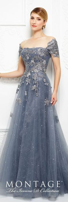 Formal Evening Gowns by Mon Cheri - Fall 2017 - Style No 217D88 - wedgwood blue strapless sequin tulle and embroidered lace full A-line evening dress