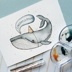 Artist Pairs Wildlife With Geometry to Create Stunning, Lively Drawings Watercolor Drawing, Watercolor Paintings, Original Paintings, Cute Illustration, Watercolor Illustration, Whale Art, Guache, Kids Room Art, Cute Drawings
