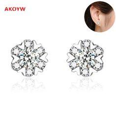Luxury super flash AAA zircon earrings female fashion popular high-end jewelry princess temperament lovely silver ear nails