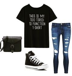 Fashion Items - Black Letter Print T-shirt with denim pants and back sneakers from romwe.com