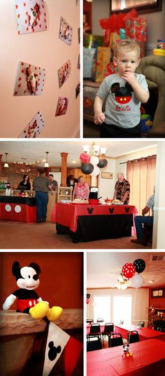 Mickey Mouse Disney themed kid birthday party - cute tee (from etsy) Mickey Mouse Theme Party, Mickey Mouse Clubhouse Party, Mickey Mouse Clubhouse Birthday, Mickey Mouse Birthday, Mickey E Minie, First Birthday Parties, 2nd Birthday, Birthday Ideas, Tablecloth Ideas