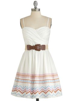 Festival Favorite Dress - White, Multi, Belted, Casual, Festival, Spaghetti Straps, Better, Sweetheart, Embroidery, A-line
