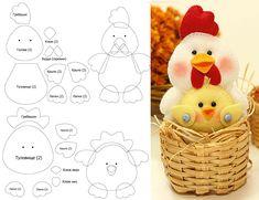 Выкройка курица и цыпленок из фетра