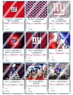 New York Giants Printable Digital Personalized Valentines Day Cards #2