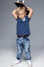 Ellos Kids Farkkujoggersit, joissa nyöri vyötäröllä Tummansininen denimi, Vaaleansininen - Pojat 2–6 v - Farkut | Ellos Mobile