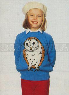 vintage Adult & Childs BARN OWL jumper knitting by borisbeka, $4.00