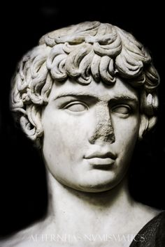 Antinous (111-130 AD). Glyptothek, Munich. Magnificent bust of Emperor Hadrian's famous lover. It was carved shortly after his tragic death by drowning in the waters of Nile River.