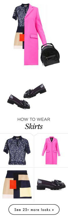"""""""a mess of it. pink and red and black and white and skirt sweater bag and coat"""" by kohlanndesigns on Polyvore featuring MSGM"""