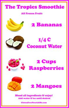 The Tropics Smoothie --  Who loves a refreshing smoothie to start off the day? Great for your kids and the whole family too! Filled with essential vitamins and minerals that can give you a boost of energy and can satisfy your sweet cravings healthily.. #banana #coconut #raspberries #mango