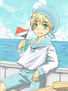 Sealand - Hetalia. He is a little that wants to be a country. So he goes to the  World Confimness to become a country but someone told he didn't have a change but he still try's to become one!