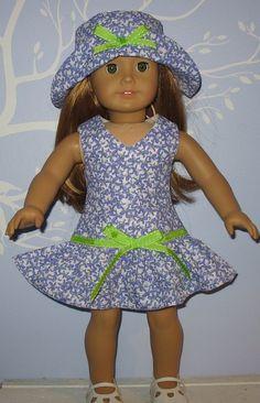 "18"" doll clothes fit American Girl TUTTI FRUTTI SUNDRESS & HAT SET Lavender"
