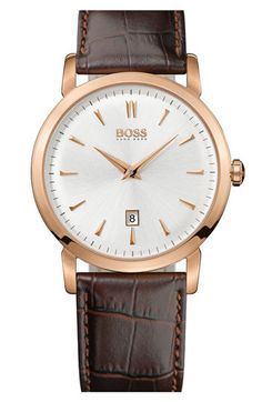 BOSS HUGO BOSS Round Leather Strap Watch, 40mm available at #Nordstrom