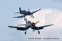 Can't remember ever seen two F4U Corsair's landing!