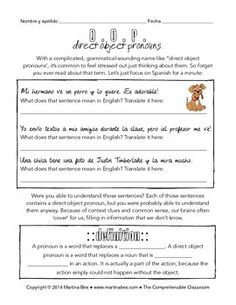 Guided Grammar Notes: Direct Object Pronouns in Spanish with reading and activities