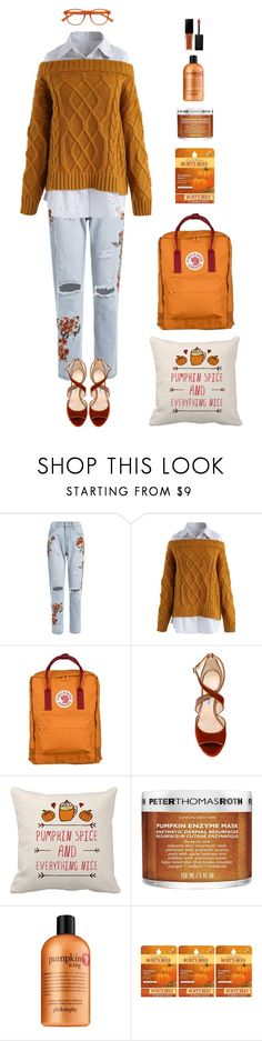 """""""Falling Pumpkins"""" by rikki-zane ❤ liked on Polyvore featuring Chicwish, Fjällräven, Jimmy Choo, Peter Thomas Roth, philosophy, Burt's Bees and EyeBuyDirect.com"""