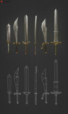 Low Poly Swords - 630 polys by bitgem Bg Design, Prop Design, Game Design, Zbrush, Wireframe, Blender 3d, Katana, Game Concept, Concept Art