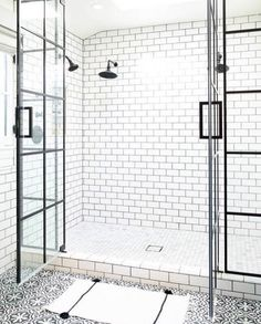 pattern floor tile, white subway tile shower with dark grout