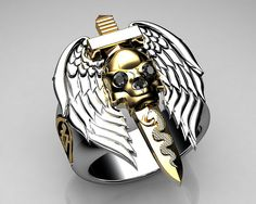 #Unique Mens Ring Flying Skull...    Please Repin Appreciate it! :-)