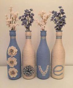 Diy Wine Bottle Crafts diy wine bottle crafts with twine Glass Bottle Crafts, Wine Bottle Art, Painted Wine Bottles, Diy Bottle, Twine Wine Bottles, Wrapped Wine Bottles, Beer Bottles, Blue Bottle, Creation Deco