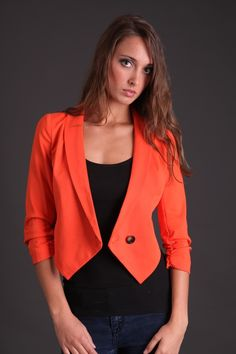 OBESSED with this Cropped Coral Blazer!!!! $49.99 www.sophieandtrey.com #coral #trendoftheseason #sophieandtrey #obsessedwithblazers
