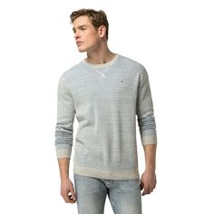 TOMMY HILFIGER COTTON MESH CREW - LT GREY CREEK HTR.  tommyhilfiger  cloth   e4313a2dfef9