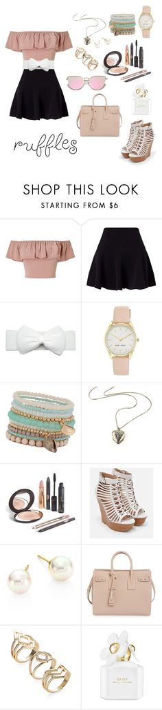 """""""Untitled #57"""" by tiara101-1 ❤ liked on Polyvore featuring Miss Selfridge, Nine West, ALDO, JustFab, Majorica, Yves Saint Laurent and Marc Jacobs"""