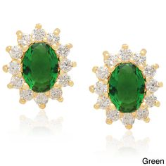 Dolce Giavonna 14k Gold Overlay Simulated Sapphire or Simulated Emerald Stud Earrings (Green), Women's
