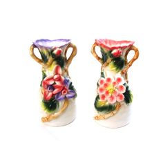 Antique Majolica Vases Capidomonte Coral Green by OceansideCastle, $54.99