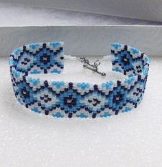 Beaded Cuff Bracelet In Light Blue, Dark Blue, and White With Silver Tone Toggle Clasp  Fits 7 3/4 Wrist  3/4  Wide  Glass Seed Beads  Silver