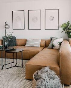 Home Living Room, Apartment Living, Living Room Designs, Living Room Decor, Corner Sofa Living Room, Corner Couch, Cozy Apartment, Decor Room, Leather Modular Sofa